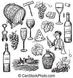 スケッチ, セット, 手, ベクトル, 引かれる, ワイン