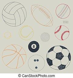 スケッチ, セット, 手, ベクトル, 引かれる, balls., スポーツ