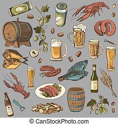 スケッチ, セット, 有色人種, 手, ビール, ベクトル, 図画