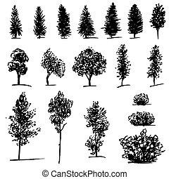 スケッチ, セット, 木, 手, 背景, 引かれる, 白