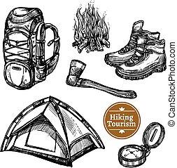 スケッチ, セット, 観光事業, キャンプ, ハイキング