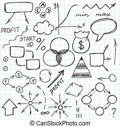 スケッチ, セット, illustration., 単純である, いたずら書き, 手, symbols., ベクトル, サイン, 引かれる, ∥あるいは∥