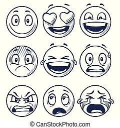 スケッチ, セット, smiles., いたずら書き, smiley, emoticons, 別, ベクトル, emotions., 引かれる, 微笑, 手, 顔