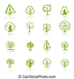 スケッチ, デザインを設定しなさい, あなたの, 木