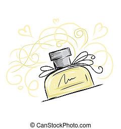 スケッチ, デザイン, あなたの, びん, 香水