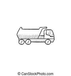 スケッチ, トラック, icon., ゴミ捨て場