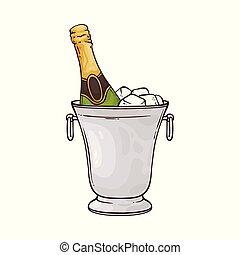 スケッチ, バケツ, 氷, ベクトル, イラスト, びん, シャンペン, style.