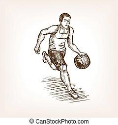 スケッチ, バスケットボール, スタイル, イラスト, プレーヤー, ベクトル