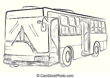 スケッチ, バス, 大きい, クラシック