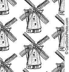スケッチ, パターン, holand, seamless, ベクトル, 風車