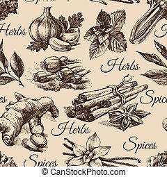 スケッチ, パターン, seamless, 手, ハーブ, イラスト, 引かれる, spices., 台所