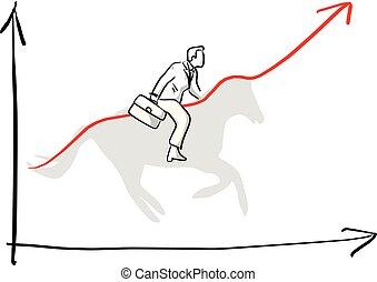 スケッチ, ビジネスマン, の上, グラフ, 作りなさい, ライン, 馬, イラスト, 隔離された, ベクトル, 黒い背景, 乗馬, 引かれる, 白, 手, 影