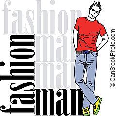 スケッチ, ファッション, イラスト, ベクトル, man., ハンサム