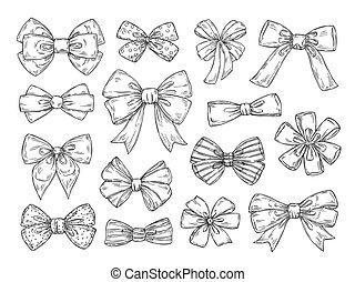 スケッチ, ファッション, セット, doodles, 型, 隔離された, bow., 付属品, タイ, ベクトル, 結ばれた, ribbons., 引かれる, 手, お辞儀をする