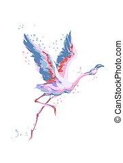 スケッチ, フラミンゴ, 隔離された, flying., バックグラウンド。, ベクトル, イラスト, 白, 鳥