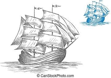 スケッチ, フルである, 航海, 帆, 下に, 船