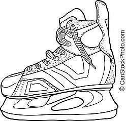スケッチ, プレーしなさい, イラスト, 氷, ベクトル, ホッケースケート, skates.