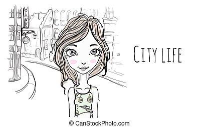 スケッチ, ベクトル, 古い, city., 若い, イラスト, 通り, 肖像画, 女の子, style., ヨーロッパ