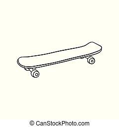 スケッチ, ベクトル, 型, スケート 板, アイコン