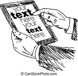 スケッチ, ベクトル, 指すこと, スクリーン, イラスト, device., 手, 感触, ビジネスマン