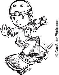 スケッチ, ベクトル, 芸術, skateboarder