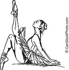 スケッチ, ベクトル, dancer., バレエ, イラスト