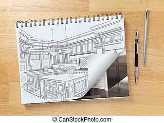 スケッチ, ページ, 図画, 机, 鉛筆, 回転, 終えられた, パッド, 次に, 台所, ショー, 建設, 定規