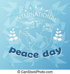 スケッチ, ポスター, 平和, 地球, 世界, インターナショナル, 休日, 日