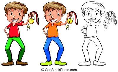 スケッチ, メダル, 3, 金, 人
