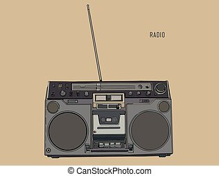 スケッチ, ラジオ, レトロ, vector., チューナー, 波, 古い