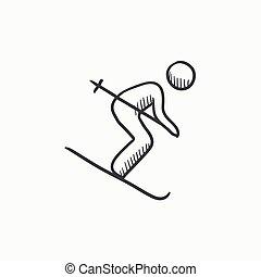 スケッチ, 下り坂に, icon., スキー