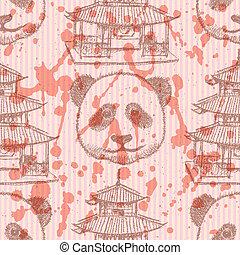 スケッチ, 中国語, 寺院, そして, パンダ, ベクトル, seamless, パターン