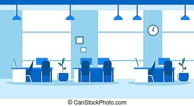 スケッチ, 中心, オフィス, いいえ, いたずら書き, 現代, 人々, スペース, 創造的, 内部, co-working, 開いた, 横, 空
