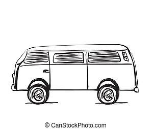 スケッチ, 交通機関, 自動車, lines., バス, いたずら書き, アイコン