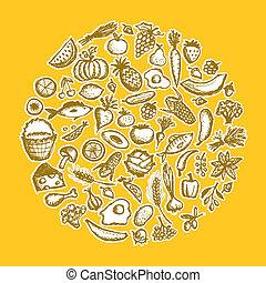 スケッチ, 健康に良い食物, 背景, デザイン, あなたの