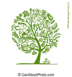 スケッチ, 健康, 木, デザイン, 食物, あなたの