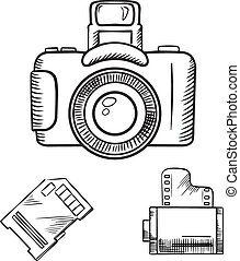 スケッチ, 写真カメラ, フィルム, 記憶, 回転しなさい, カード