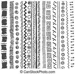スケッチ, 単純である, パターン, イラスト, 手, ベクトル, 背景, 引かれる, 白