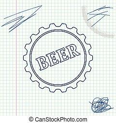 スケッチ, 単語, 帽子, 隔離された, イラスト, バックグラウンド。, ビール, ベクトル, びん, 線, 白, アイコン