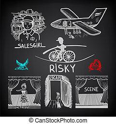 スケッチ, 危険, いたずら書き, 旅行, コレクション, 現場, salesgirl, 背景, インク, 脱出, 黒, 図画, 女優