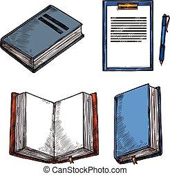 スケッチ, 古い, アイコン, 型, メモ用紙, ベクトル, 本, abd