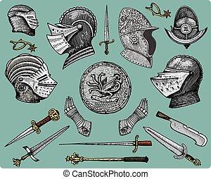 スケッチ, 古い, 保護, 手袋, スタイル, シンボル, 切口, メース, 型, 見る, 木, レトロ, 引かれる, ナイフ, 中世, ヘルメット, 手, 拍車, ドラゴン, 剣, 刻まれる, ∥あるいは∥