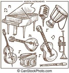 スケッチ, 古典である, アイコン, 道具, ジャズ, コレクション, ミュージカル, ベクトル, 音楽,...