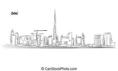 スケッチ, 合併した, アウトライン, パノラマ, emirates., アラビア人, ベクトル, ドバイ