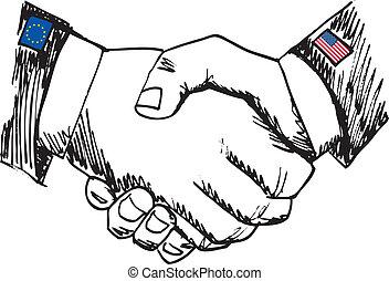 スケッチ, 同盟, ビジネス, ∥間に∥, 2, countries., 手, ベクトル, イラスト, 振動, 同僚。