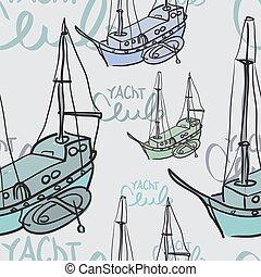 スケッチ, 型, ヨット, seamless, 織物, スタイル, パターン