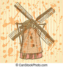 スケッチ, 型, holand, ベクトル, 背景, 風車