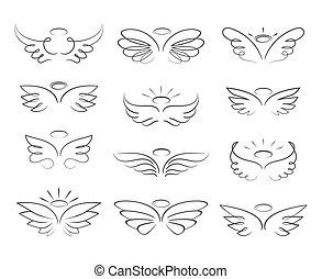 スケッチ, 天使, スタイル, 隔離された, ベクトル, 背景, 白, 翼, 漫画