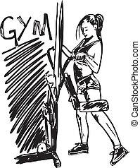 スケッチ, 女, 仕事, ジム, イラスト, ベクトル, dumbbell, から, weights.