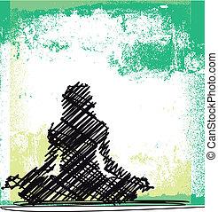 スケッチ, 女, 抽象的, yoga., 瞑想する, イラスト, ベクトル